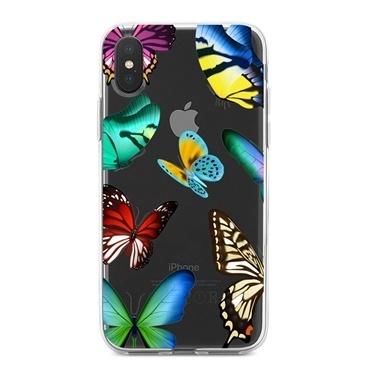 Lopard iPhone Xs Max Kılıf Silikon Arka Koruma Kapak Sihirli Kelebekler Desenli Renkli
